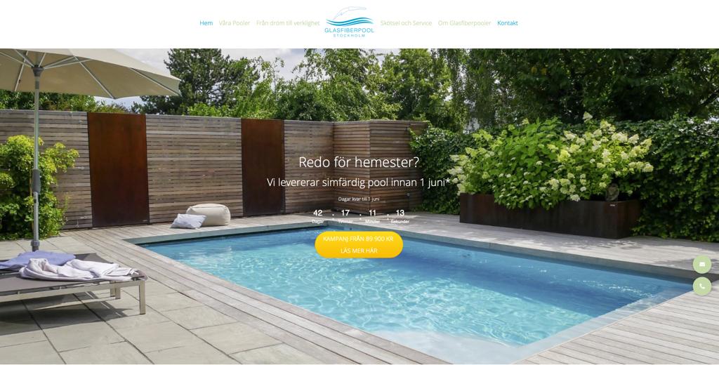 Webbplats för Poolåterförsäljare • glasfiberpoolstockholm.se