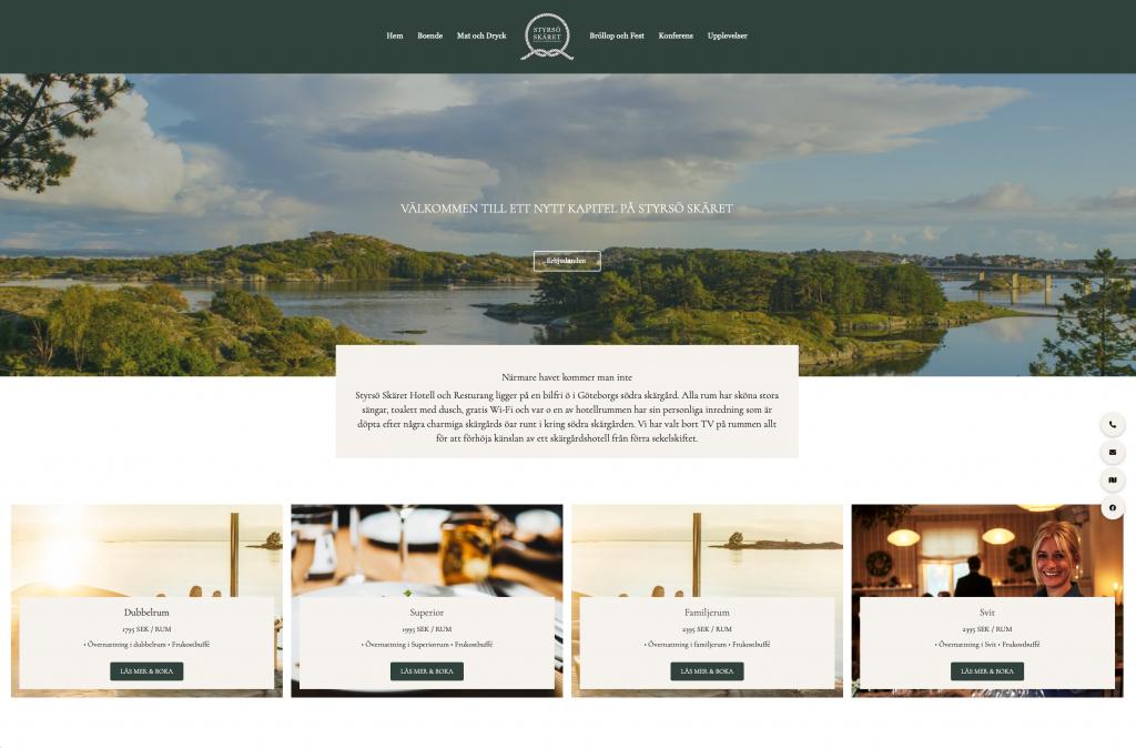 Webbplats för Pensionat i Göteborgs Skärgård